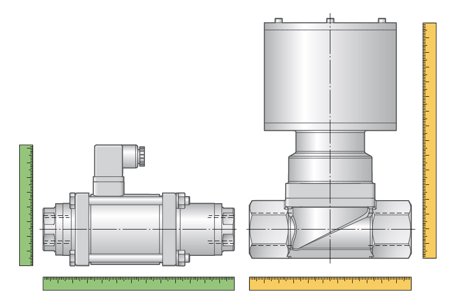 Efficiency due to a compact valve design